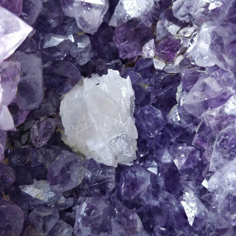 Amethyst Geode with Large Calcite Point