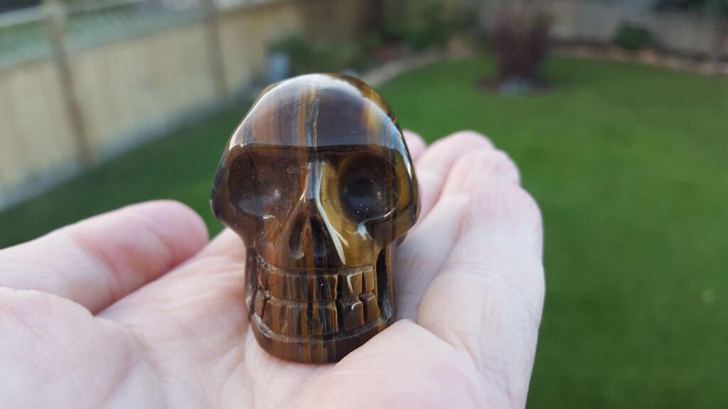 Gold Tiger Eye Skull