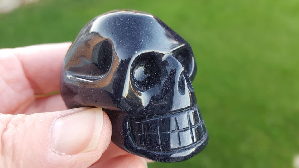 Purple Goldstone Skull