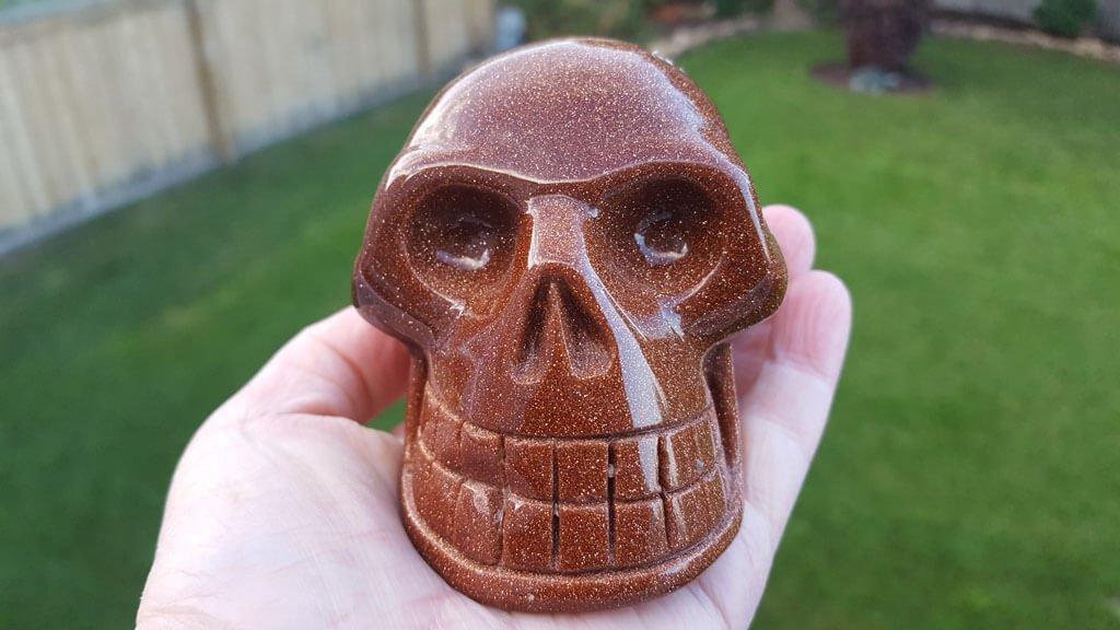 Red Goldstone Skull