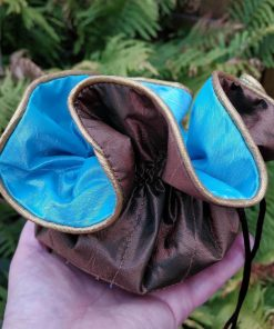 Blue and Bronze Drawstring Pouch