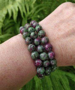 Ruby Zoisite 8mm Round Bead Bracelet