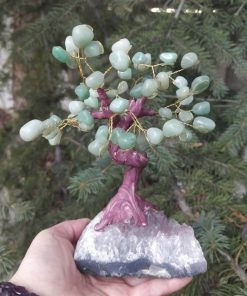 Green Aventurine Gemstone Tree with Amethyst Base