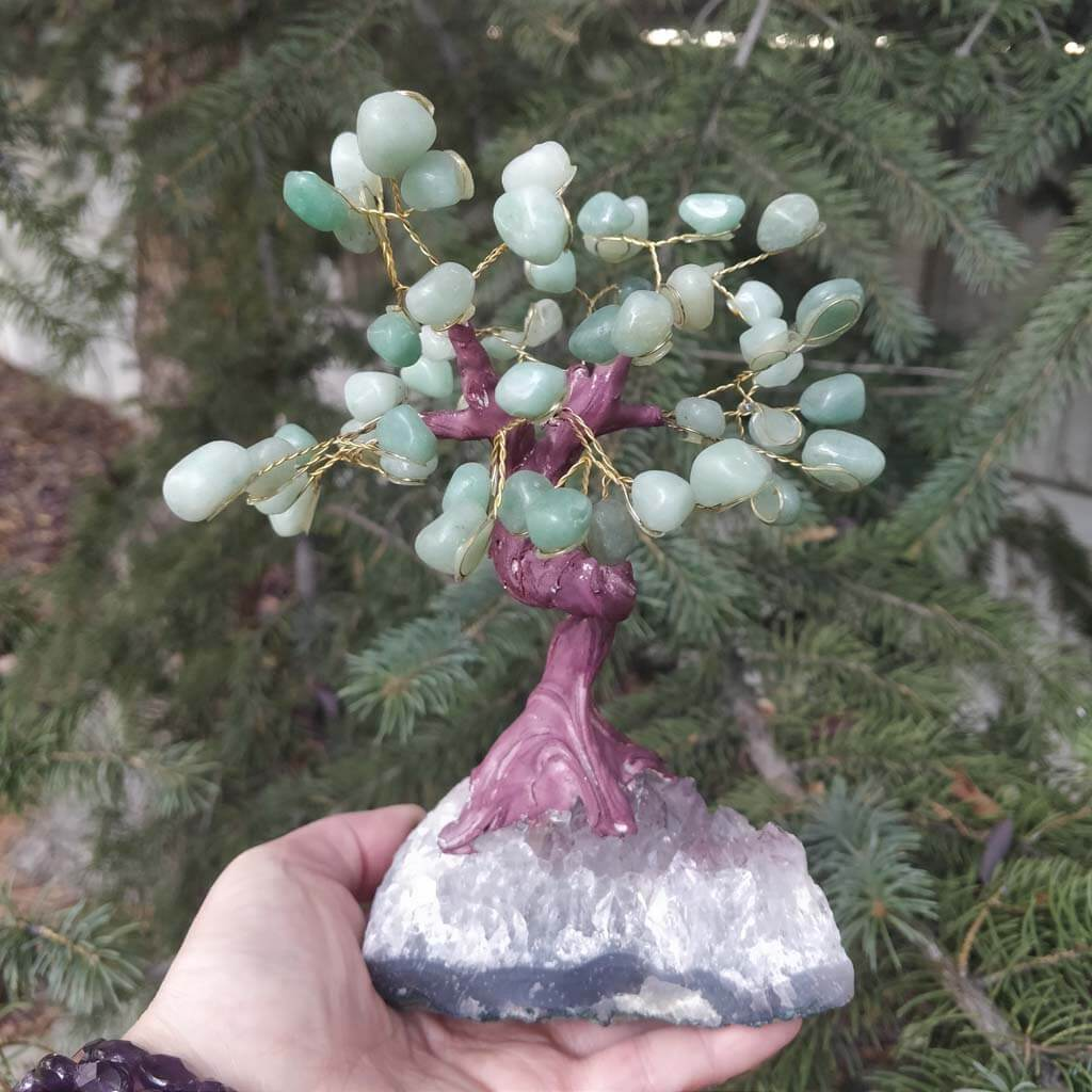 Green Aventurine Gemstone Tree with Amethyst Base